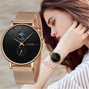 LIGE New Women Luxury Brand Watch Simple Quartz Lady Waterproof Wristwatch Female Fashion Casual Watches Clock reloj mujer 2020 - DISCOUNT ITEM  91 OFF Watches