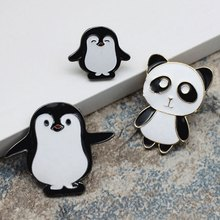 High Quality Cartoon Cute Enamel Pin Penguin Panda Animal Pins Anime Women's Brooches Badge Denim Coat Hat Jewelry Brooches(China)