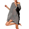 2016 Women Beach Dress Sexy Striped Loose Summer Dresses Boho Dress Vestidos Bohemian Women Clothing D1