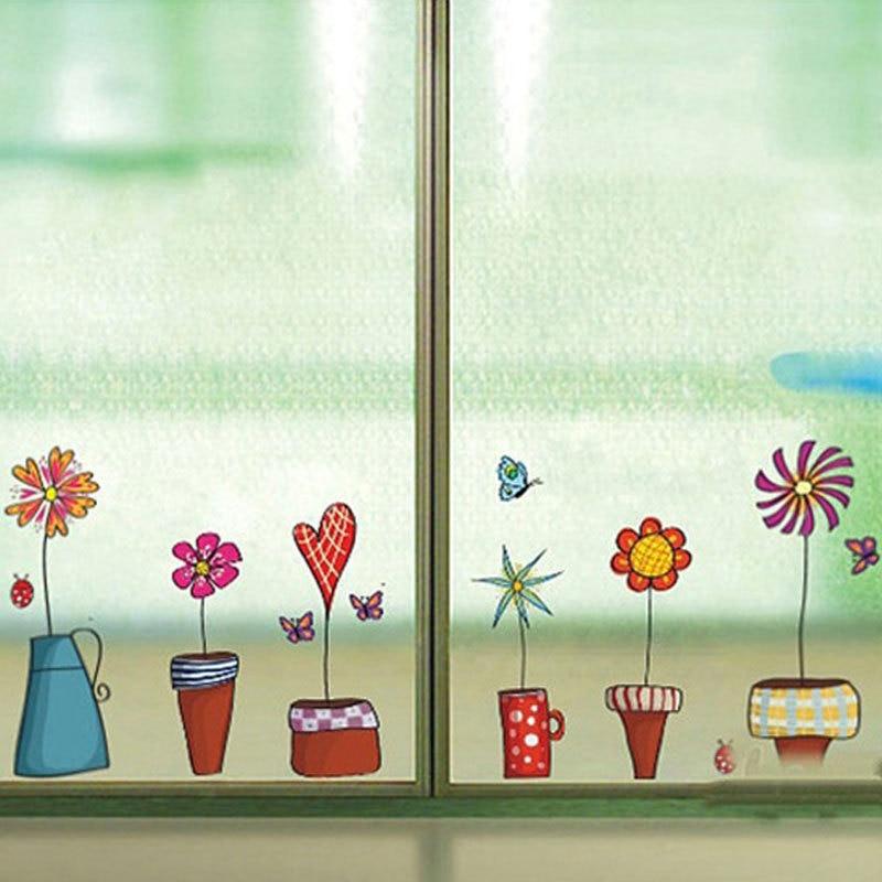 cute flower wall sticker cucina glass window sticker butterfies vetro adesivi murali bagno parete del vinile