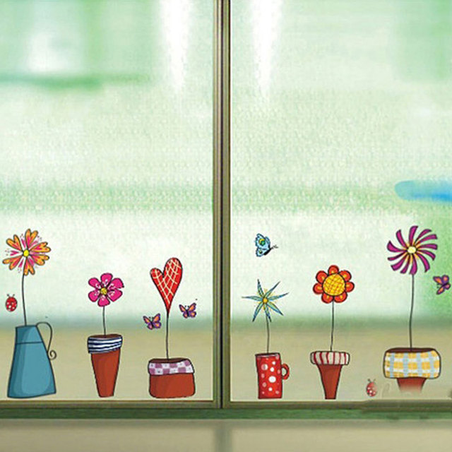 Cute Flower Wall Sticker Kitchen Window Glass Sticker Butterfies Wall Stickers Bathroom Glass Vinyl Wall Decal Kids Rooms Decor