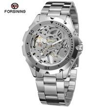 Lleno de hombre acero inoxidable marca de lujo hombres reloj mecánico Skeleton reloj grabado hueco reloj de alta calidad relojes mujer
