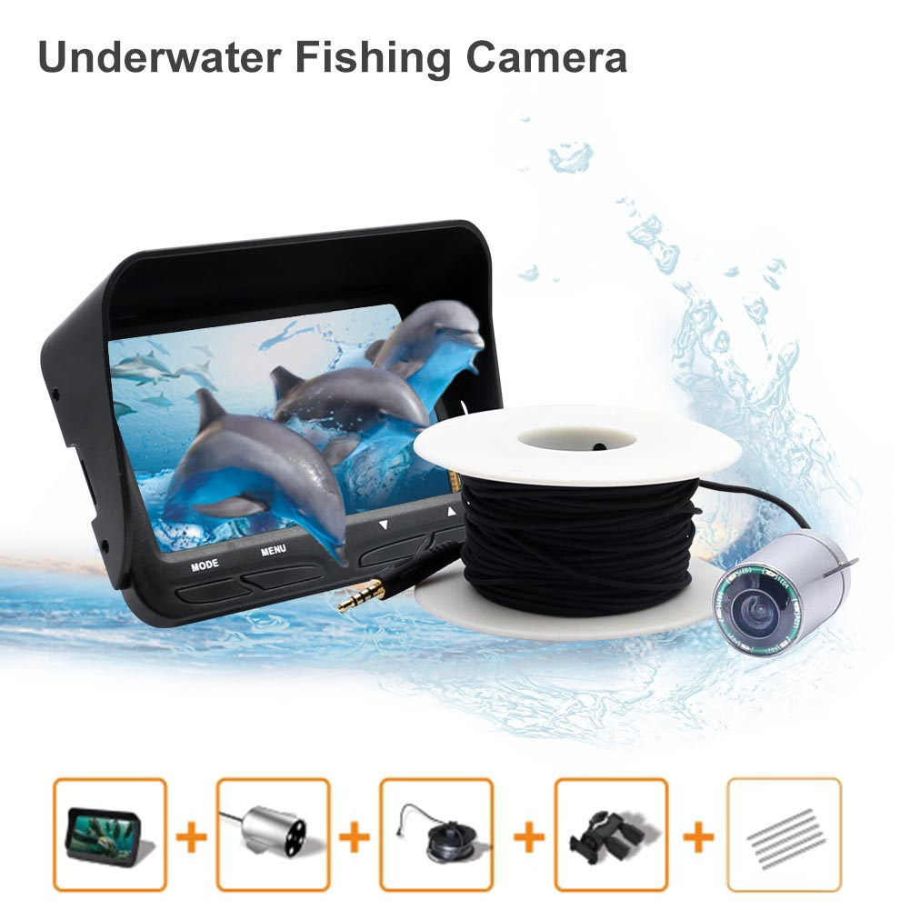 4.3 inch LCD Monitor 6 LED Night Vision Video 720P Underwater Fishing Fish Finder Ice Camera 30m Cable Visual Fish Finder