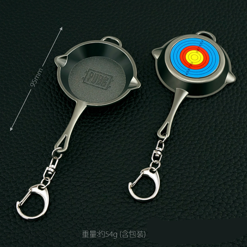 Fashion New Black PUBG Frying Pan Keychain High Quality Hot Game Playerunknowns Battlegrounds Keyring For Women And Men Pan