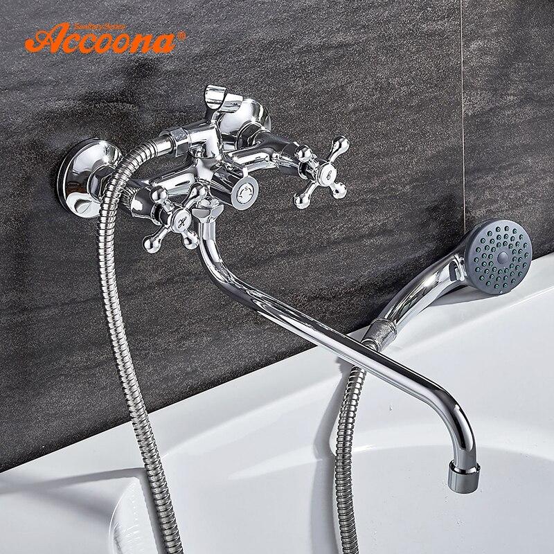 Accoona robinets de douche classique robinet de baignoire chromé support unique Long nez en laiton salle de bains robinet mitigeur de bain A7176 - 2
