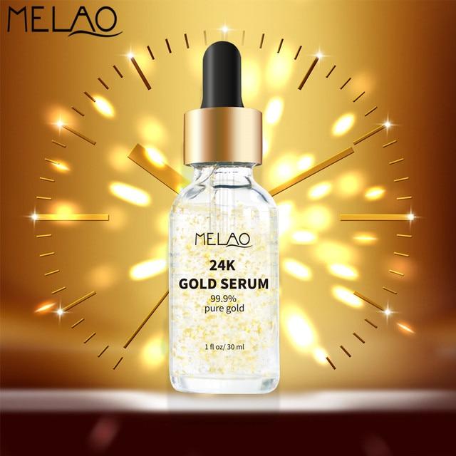 MELAO 24K Gold Face Serum Moisturizer Essence Whitening Day Cream Anti Aging Wrinkle Firming Lift Skin Care 1oz 30ml O
