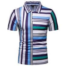DropshippingNew Summer Men's Short-sleeved T Shirt Men's Contrast Color Striped Slim Lapel Casual T-shirt недорого