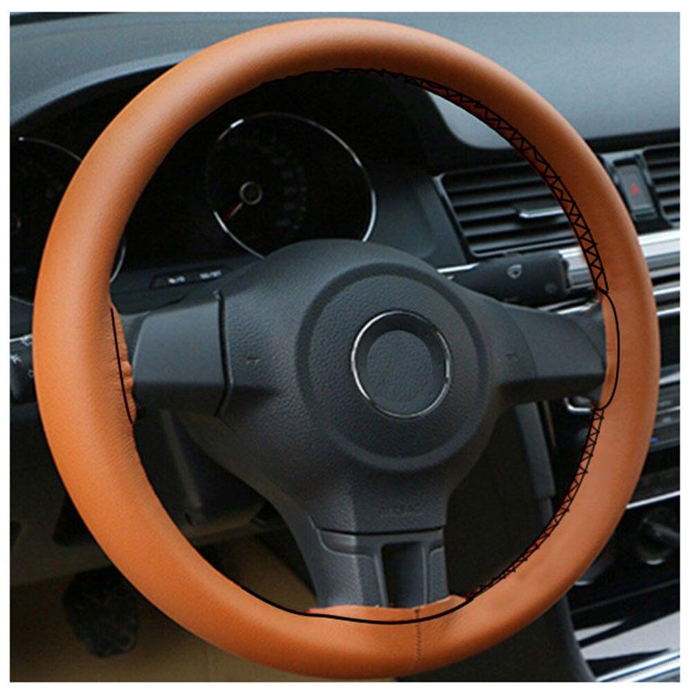 GLCC DIY braid steering wheel cover 38 cm Microfiber leather steering wheel cover Needle And Thread Car Styling