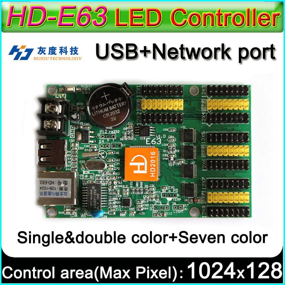 HD -E63 LED Display  Controller, Single&double Color P10 LED Sign Control Card,U-Disk And LAN Cable To Edit And Updated Programs