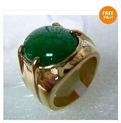 จัดส่งฟรี > > ใหม่ร้อนทิเบตเงินหินสีเขียวแหวนผู้ชายขนาด 10 #