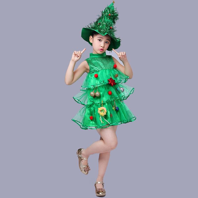 Christmas Tree Dress Costume: Children's Christmas Tree Dress Show Performance Costumes