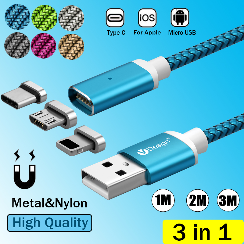 3/6/10ft 2.1A 3IN1 Magnetic USB-C Type C IOS Micro USB Charger Charging Magnet Cable For Samsung S9 S8 S7 S6 For iPhone 8 7 6S 5