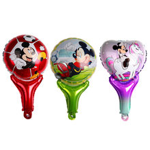 Cartoon Mickey Minnie hand Sticks Foil Balloons Baby Birthday Wedding Party Decorations Kids Toys Supplies(China)