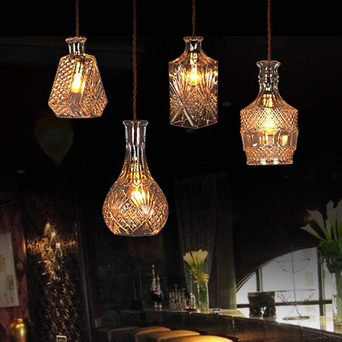 ANTIQUE DECANTER GLASS BOTTLE CEILING LAMP LIGHT RETRO PENDANT LIGHTING DECOR Store Restaurant Cafe Bar Coffee Shop Dining Room loft edison vintage retro cystal glass black iron light ceiling lamp cafe dining bar hotel club coffe shop store restaurant
