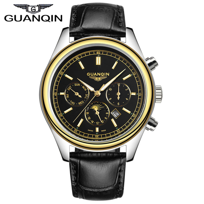 Luxury Brand GUANQIN 2015 New Fashion & Casual Genuine Leather Strap Multifunctional Men Quartz Watches reloj mujer 2015 reloj mujer xr527