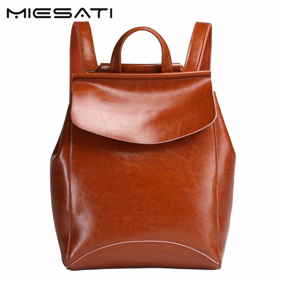 MIESATI Genuine Leather Backpack Women Bag Oil Wax Cow Leather Vintage Backpacks Female Casual Shoulder Bags For Teenage Girl brand bag backpack female genuine leather travel bag women shoulder daypacks hgih quality casual school bags for girl backpacks