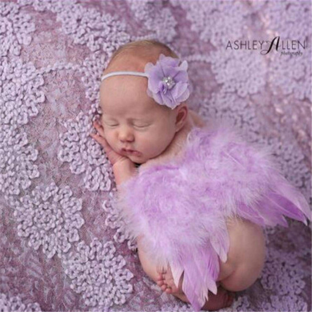 Newborn Photography Props Feather Angel Wings Baby Lace Flower Headband Headwear 2pcs/Set Anniversary Photo Props Gift Dropship