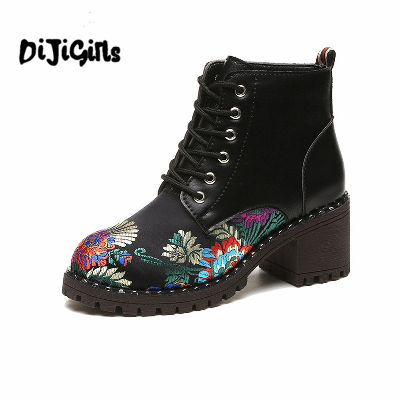 Women Ankle Boots Embroider Lace Up High Heel Round Toe Supper Quality Woman Square heel New Fashion Shoes цены онлайн
