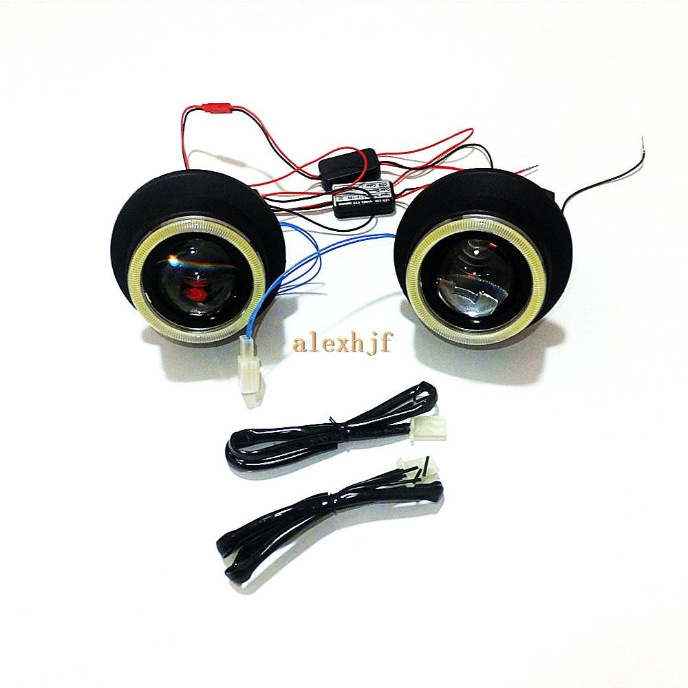 Июля King передний бампер автомобиля, автомобиль бифокальные линзы туман лампа с LED COB Ангел глаз Кольца DRL чехол для Toyota Highlander 2011 ~ 13