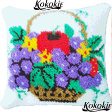 cross stitch embroidery needlework sets Latch Hook rug making kits fruit printed 3d cushion mat Crocheting Rug Yarn Pillowcase(China)