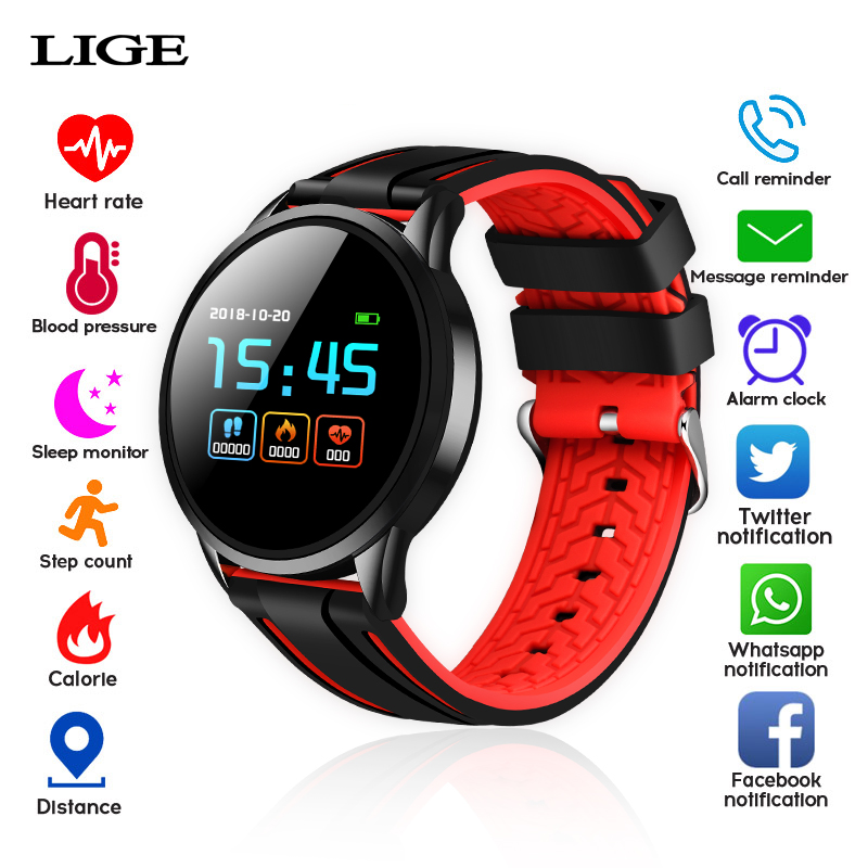 LIGE Smart Watch Men Blood Pressure Waterproof Smartwatch Women Heart Rate Monitor Fitness Tracker Sport Watch for Android IOS