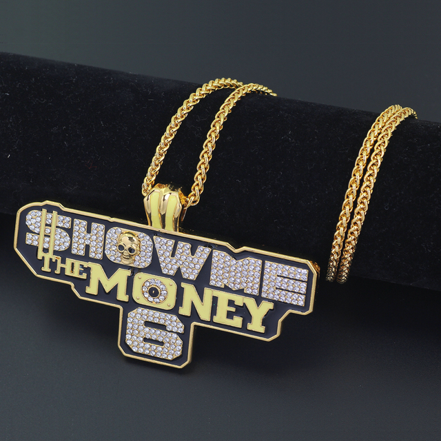 New Large Size Hip Hop Pendant SHOW ME THE MONEY Necklace Bling Bling N858 d0c5c56a9c13