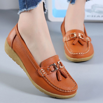 Flat women Genuine leather Fashion Casual Superstar Ladies Loafers | Fringe Solid Female Soft Plus size 42-44 Shoe