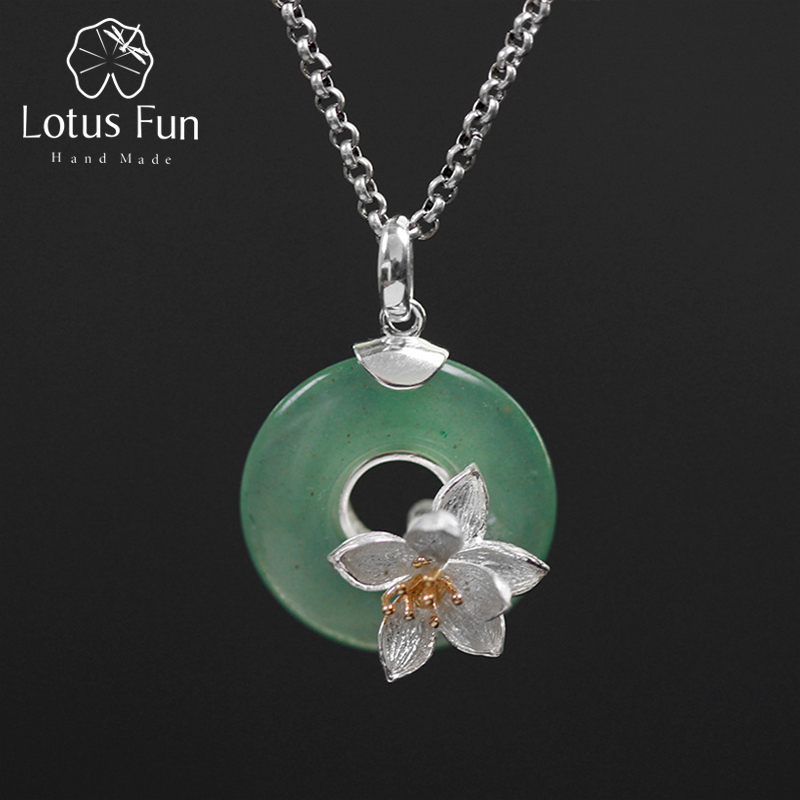 Real 925 Sterling Silver Natural Green Stone Handmade Design Fine Jewelry Lotus Whispers Pendant without Necklace