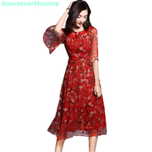 Floral Dress 2016 Summer Half Sleeve Pleated Fit Flare Long Silk Chiffon Print Dresses Women Plus Size Clothing Vestidos Jurken