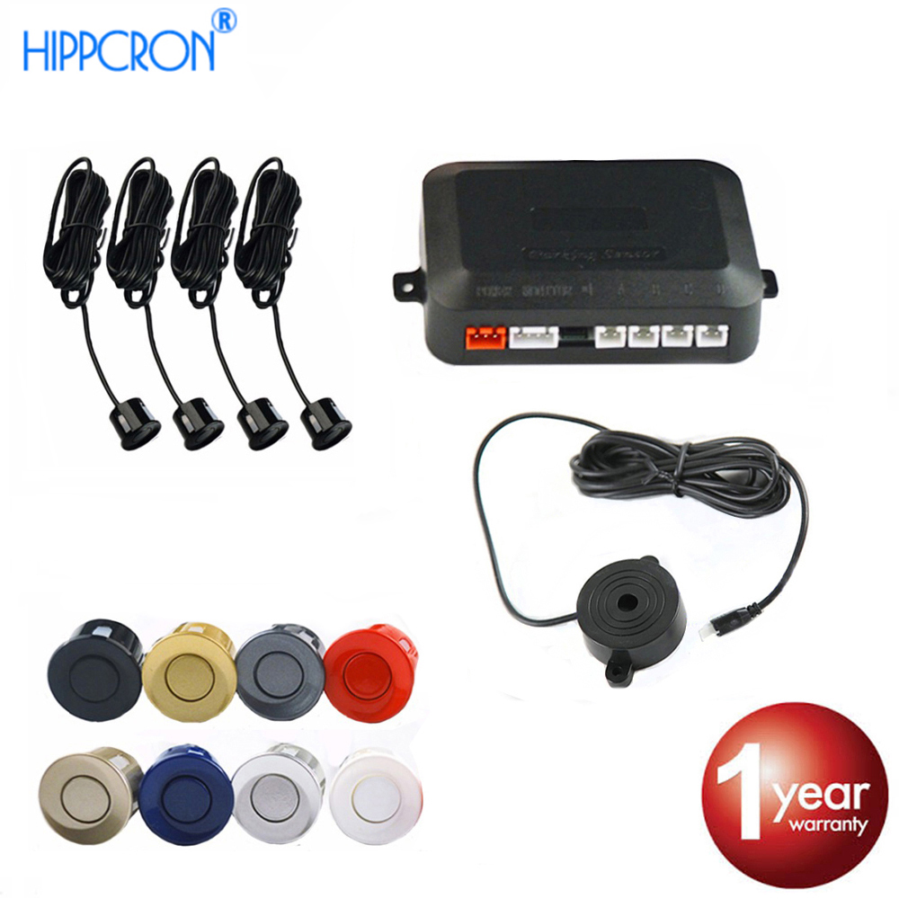 Hippcron Car Parking Sensor Kit Buzzer 22mm 4 Sensors Reverse Backup Radar Sound Alert Indicator Probe System 12V 8 Colors