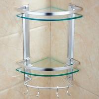 Glass bathroom shelf bathroom vanity tripod wall mount double space aluminum storage rack LO5151132