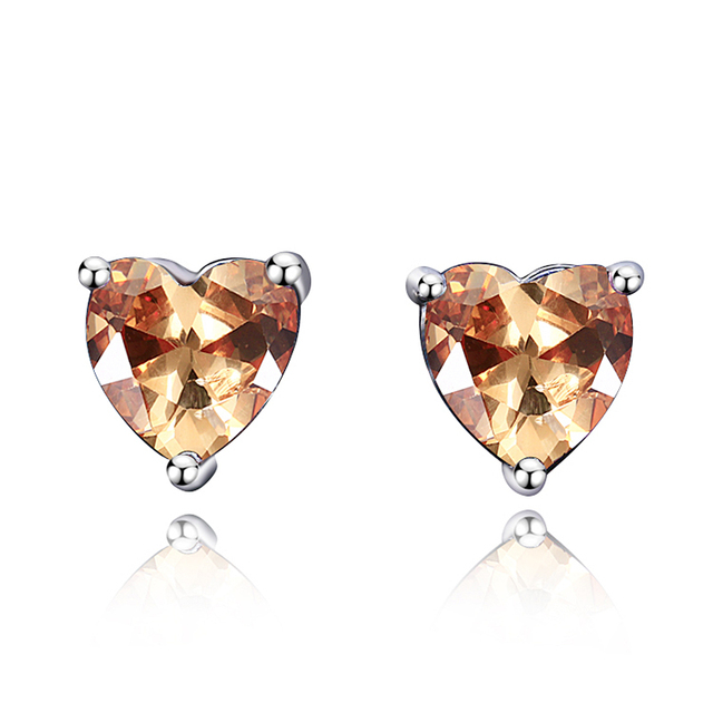 Earrings For Women Romantic Heart 925 Silver Jewelry Earring With Natural Gemstone Topaz Stones Party Wedding Birthday Gifts