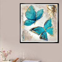 Vintage Design Flying Butterfly 5D Diy Diamond Painting Full Round Diamante Mosaic Drill 3D Diamond Embroidery Rhinestones Paint