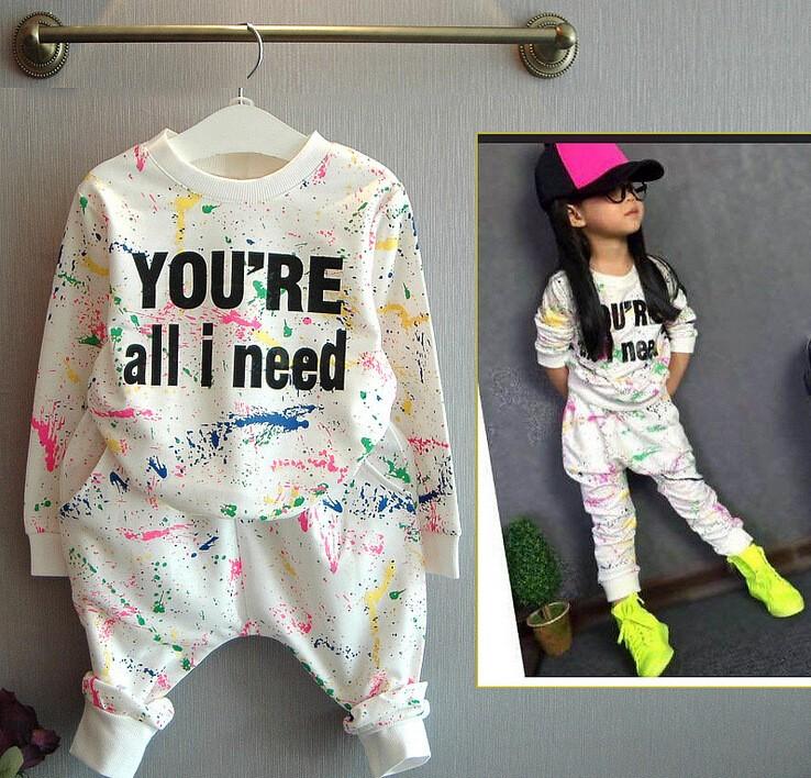Ali Królik 2 SZTUK topy + spodnie Toddler dziewczyna odzież kolorowe drukowanie dziewczyny ubrania dres dziewczynek dzieci 2 3 4 5 lat 7 tkaniny 13