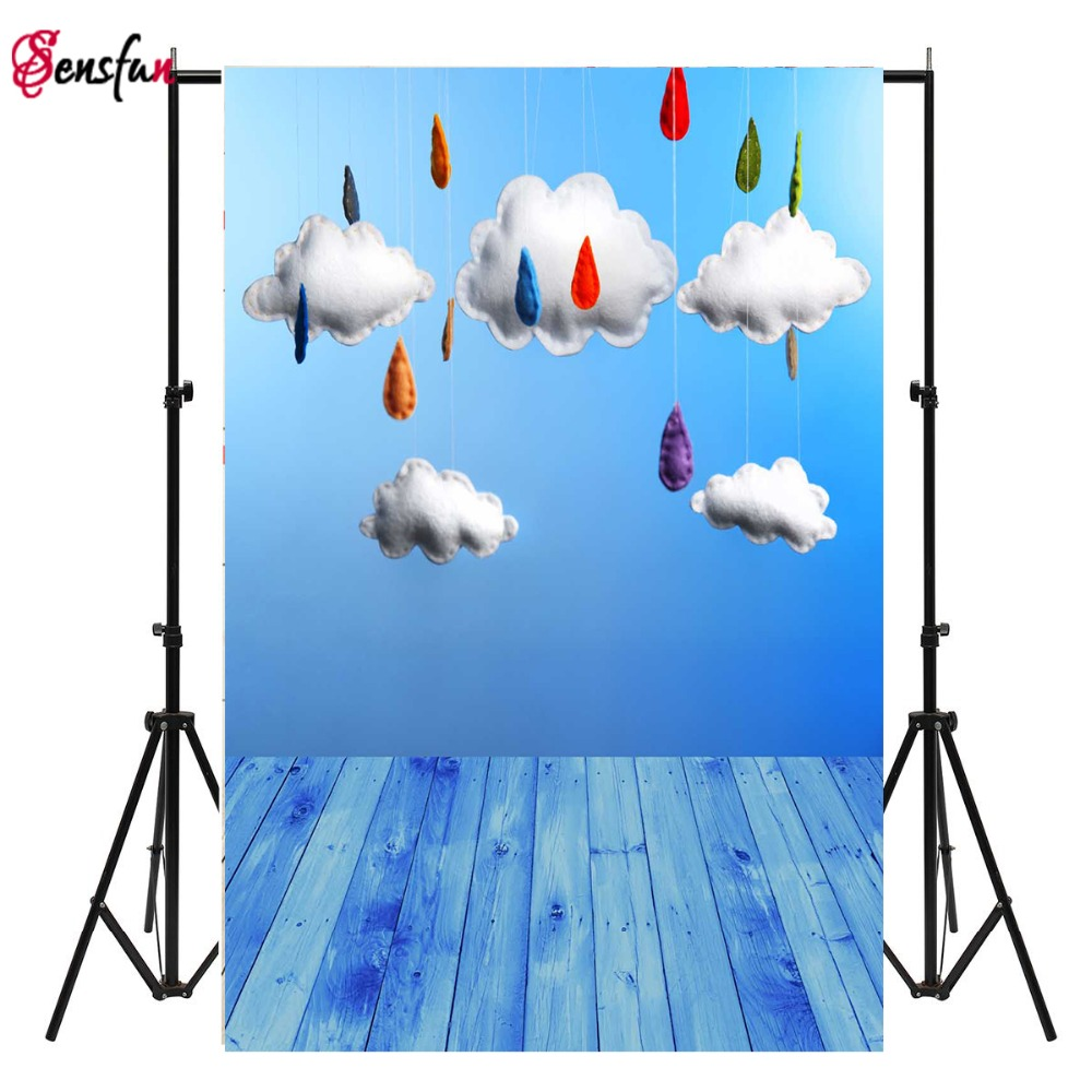 Blue Sky White Clouds Photography Background Computer Printed Children Photography Backdrops for Photo studio S-1971