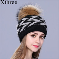 Xthree Double Deck Rabbit Fur Knitted Winter Hat For Women Real Fur Pom Pom Hat Female
