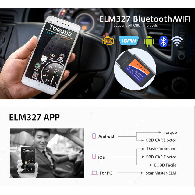 ELM327 V1.5 OBD2 Bluetooth/WIFI Car Diagnostic Tool ELM 327 OBD II Scanner Chip PIC18F25K80 Work Android/IOS/Windows 12 V Car
