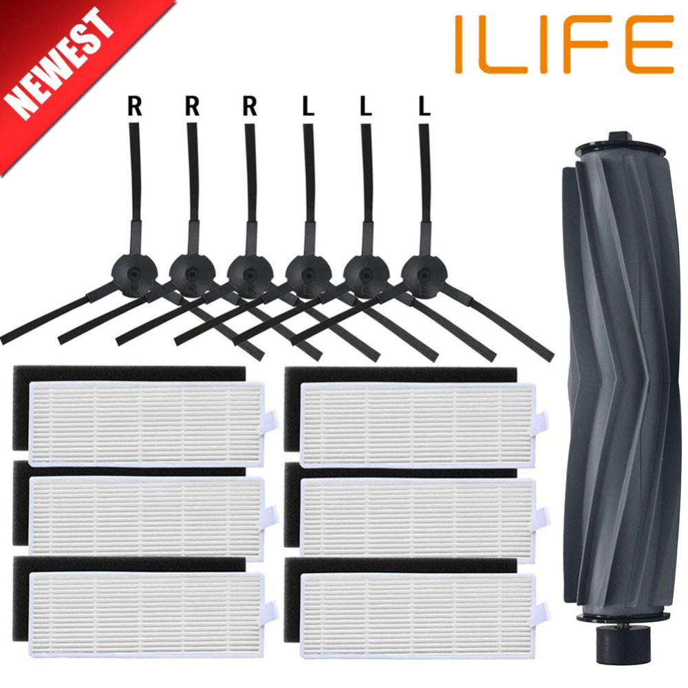 1*Main Brush+6*pair(Black+white)HEPA Filter+6*Side Brushes for ILIFE A8 Robot Vacuum Cleaner Parts ilife a8 cleaner parts for xshuai hxs g1 vacuum cleaner robot side brushes hepa filter mop kit