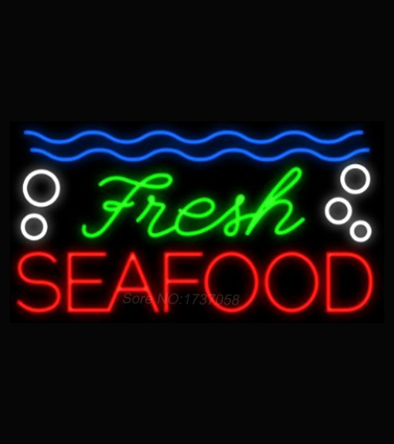 New Hot Fresh Seafood Neon Bulbs Neon Sign Real Glass Tube Handicraft Beer Sign Display Neon Light Signs for Store Attract 30x15