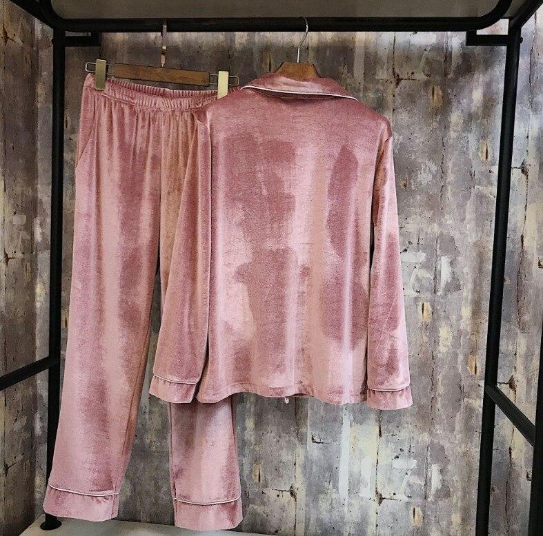 JRMISSLI 2019 New Autumn Winter Women's Pure Color Velvet Pajamas Long Sleeve 3 Piece Pants Set Leisure Sleepwear Ladies