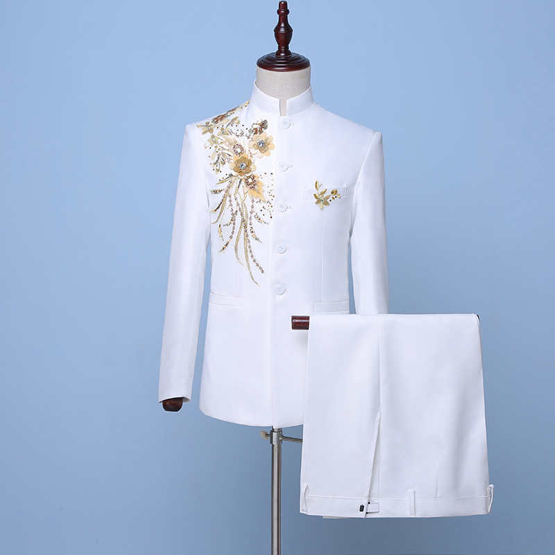 2019 Chinese Style White Stand Collar Men's Suits Gold Flowers Sequin Two-Piece Stage Singer Jacket Costumes(Jacket+Pants)