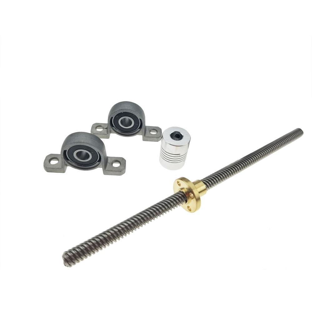 3D Printer CNC T8-400mm Lead Screw Set KP08 Shaft Coupling Thread 8mm T8 Lead8mm Length100mm200mm300mm450mm500mm600mm THSL Rods