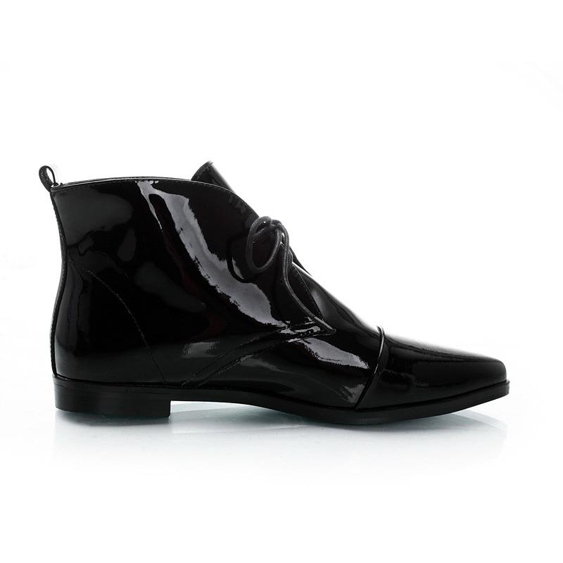 Cuir Cheville Bout Pointu De En Chaussures Mode Femme Plat Pour Femmes Dames Vankaring Sexy Talon Verni Casual Black Plate Noir Bottes forme UzqVpSM