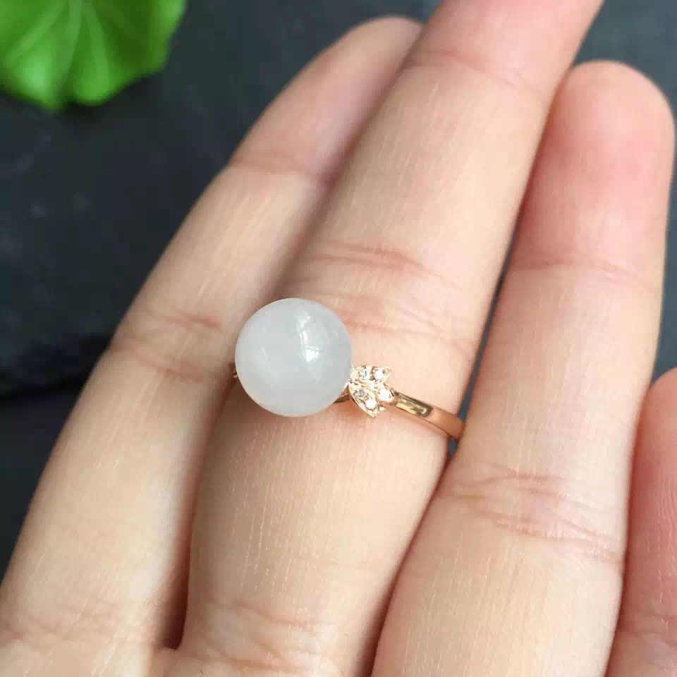 คอลเลกชันเครื่องประดับ Fine 18 K Rose Gold AU750 100% สีขาวธรรมชาติ Hetian หยกแหวนจีนต้นกำเนิดสำหรับสตรีของขวัญ