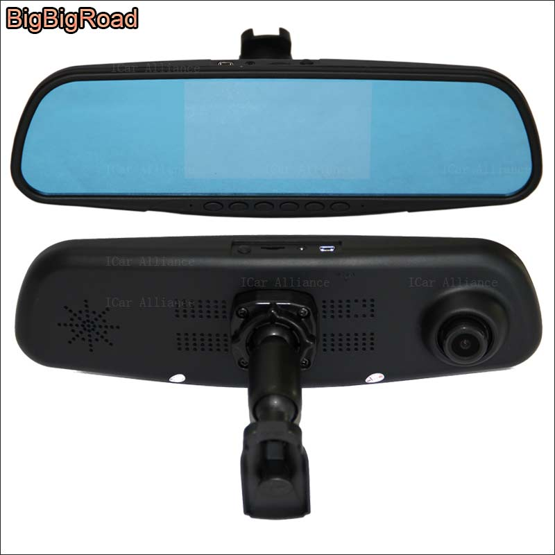 BigBigRoad For Chery A5 Car Mirror DVR Camera Blue Screen Video Recorder Dual lens Dash Cam with Original Bracket FHD 1080P 5 inch car camera dvr dual lens rearview mirror video recorder fhd 1080p automobile dvr mirror dash cam