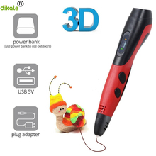 цена на dikale 1.75mm PLA DIY 3D Printing Pen LED Screen 3D Pen Painting Pen+Filament Creative Toy Gift for Kids Design Drawing