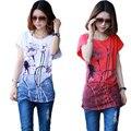 2017 Impressão De Lótus Plus Size T Shirt Mulheres Tops tshirt Curto estilo Chinês pintura a tinta de manga Verão Estilo Casual T Camisa feminina