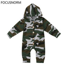 FOCUSNORM Newborn Baby Boy Girl Camouflage Print Long Sleeve Romper Jumpsuit Outfit Clothes Size 0-24M(China)