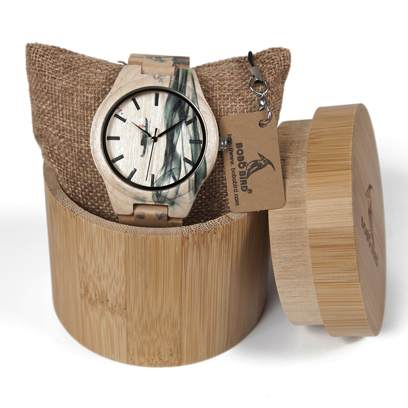 BOBO BIRD bamboo wooden maple Quartz Ink Wristwatch For Men As Gift relojes hombre Chinese elements Ink clock in wood box bobo bird l b08 bamboo wooden watches for men women casual wood dial face 2035 quartz watch silicone strap extra band as gift