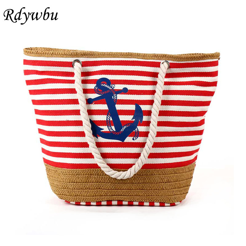 Summer Anchor Strips Printing Canvas Tote Bag Women's Navy Style Rope Travel Bag Straw Weave Shopping Beach Bag B134